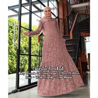 Baju Gamis Wanita Muslim Ibu Pesta Terbaru Narita Maxi Brokat Masker