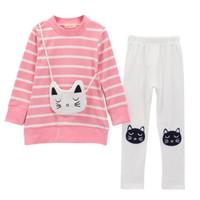 Panjang Setelan T-Shirt Musim Perempuan Anak Celana Untuk Dingin Kaos