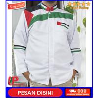 PEDULI Baju koko palestina putih pria dewasa lengan panjang motif warn - Putih, S