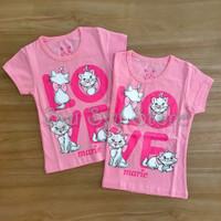 Baju Atasan Kaos Anak Perempuan Cewek Kucing Marie Cat Love Pink - Ukuran Usia 1