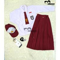 satu stel lengkap seragam sekolah SD lengan panjang anak perempuan