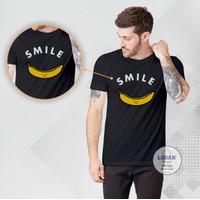 SMILE BANANA - Kaos Distro Premium Pria / Kaos Distro Pria Wanita - Hitam, S