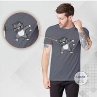 KUCING TREND - Kaos Distro Premium Pria / Kaos Distro Pria Wanita - Abu-abu, S