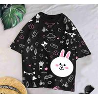 T-Shirt LN WHITE XL / BAJU KAOS WANITA XL KOREA OVERSIZE KATUN COMBED
