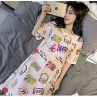 Baju Tidur Daster Viral Wanita Korea - Daster Lengan Pendek - Import