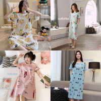 Piyama Daster Lengan Pendek Karakter Baju Tidur Wanita Plus Size - B