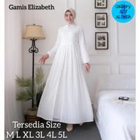 NEW Gamis Elizabeth Pesta Sifon Plisket White Putih Akad Dress M L XL