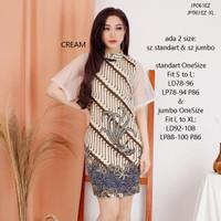 Mini Dress Batik Wanita Stretch Kombinasi Lace Shanghai Cheongsam - Cream, Standar Fit S-L