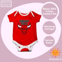Romper jumper baju bayi 0 6 bulan cewek cowok tim basket chicago bulls