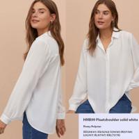 HM 99 PleatShoulder Solid White Shirt Baju Atasan Kemeja Branded