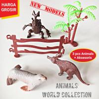 GROSIR ANIMAL WORLD COLLECTION PLAYSET + AKSESORIS - MAINAN ANAK HEWAN