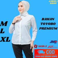 Baju Atasan Cewek Kemeja Putih Wanita Lengan Panjang Kerja Hem Polos - M