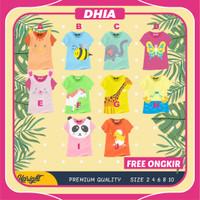 Kaos Animal Tee Baju Anak Perempuan Karakter Hewan Murah 2-10 Tahun