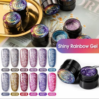 ROSALIND Shiny Rainbow gel uv pot 5ml/kuteks glitter/nail polish murah