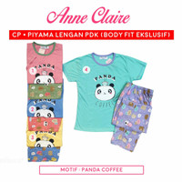 Piyama Babydoll Anne Claire Lengan Pendek Celana Panjang Bodyfit