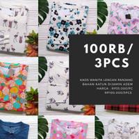 Fashion Kaos Wanita Adem / t-shirt Motif Lengan Panjang / Pakaian Cewe