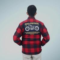 Road Protocol - Jaket kemeja bikers flanel wol Gore Tex anti angin