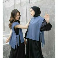 sweater rompi rajut tali wanita polos vest knit outer korea premium - denim