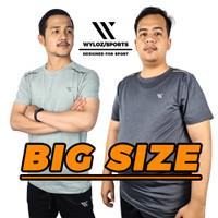 Baju Kaos Big Size Dry Fit Gym Fitness Olahraga Lari Sepeda Cowok Pria - Abu Muda, XXL