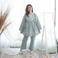 Baju Ibu Hamil Setelan Kerja Katun Kimono Renda Putih Lipit - STJ 91