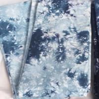 Batik Jumputan Kreuniq Biru Langit Abstrak - Kain untuk Baju Lebaran - Biru Langit Tua