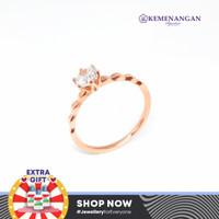 Cincin Emas Model Satu Mata Putih Rosegold Kadar : 700 %