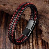 gelang Kulit pria black red / gelang pria keren big size 22cm