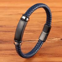 Gelang kulit magnetic / gelang pria keren cool big size 22cm - Biru