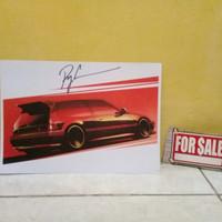 Hot Wheels Poster Honda Civic EF Nouva Ryu Asada Sign NOT Tomica R34