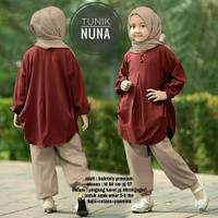 Set 3in1 Nuna Kid Atasan Tunik Celana Phasmina Baju Muslim Anak
