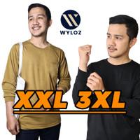 Baju Kaos Lengan Panjang Polos Kantong Jumbo Big Size Cowok Pria 24s