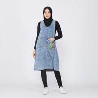Jumpsuit Rok Jeans Denim Wanita Overall Midi Dress Hijab - Matahari