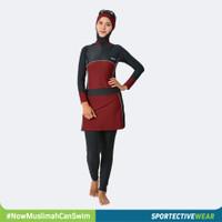BAJU RENANG MUSLIMAH SPORTE SM-57 BLACK RED MAROON