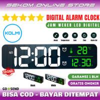 KOLMI Jam Meja Dinding Tembok Weker LED Digital Alarm Clock Temperatur - White