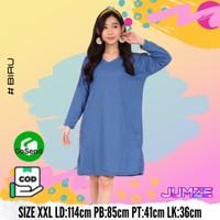 Baju Tunik Oversize Lengan Panjang Polos Atasan Wanita JF-NAFTALI - Biru, XXL