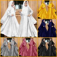 baju muslim gamis anak perempuan GMS embos . 8-10 tahun - Putih