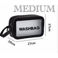 Tas Kosmetik WASHBAG Bahan PVC Kulit PU Waterproof Transparant Pouch