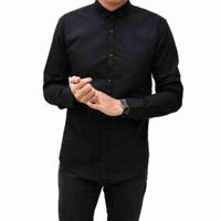 XXXL XXL XL L Kemeja Polos Pria Panjang Slimfit / Baju Kerja / Hitam