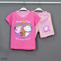 Baju Tidur Setelan Pendek Pendek Peppa Pig P-511 / H size 8-10-12