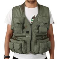 Deukio Rompi Pancing Fishing Vest Quick Dry Jacket XL WARNA HIJAU ARMY