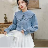 Atasan Wanita Original | Zeta Blouse Jeans | Terminal Grosir