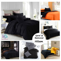 Vige Bedcover Set Polos Warna Hitam Bahan Katun Size Single   Badcover