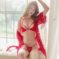 LINGERIE SET SEXY BAJU TIDUR +CD+ BRA WANITA HOT SEKSI KIMONO FN-17 - Merah