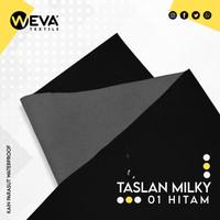 Kain Taslan Milky Hitam no 1 Weva Textile