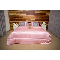 Sleep Buddy Set Sprei dan Bed Cover Plain Dusty Pink Tencel - Single Size
