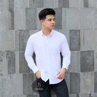 Baju Kemeja Lengan Panjang Casual Pria Polos Putih Ada Big Size XXXL