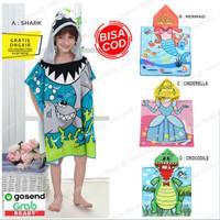 Kids Hooded Towel / Baju Handuk Hoodie Ponco Topi Handuk Renang Anak