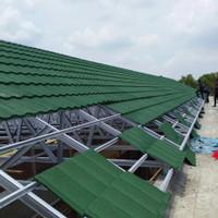rangka atap baja ringan genteng metal pasir terpasang