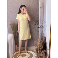 Dress Malone Wanita   Dress Salur Wanita   Dress Wanita Koran Style - Kuning, XL