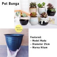 Pot Tanaman Bunga Tawon Madu Taman Honey Flower Tebal 21cm Murah Hitam
